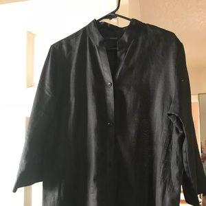 Black linen long shirt